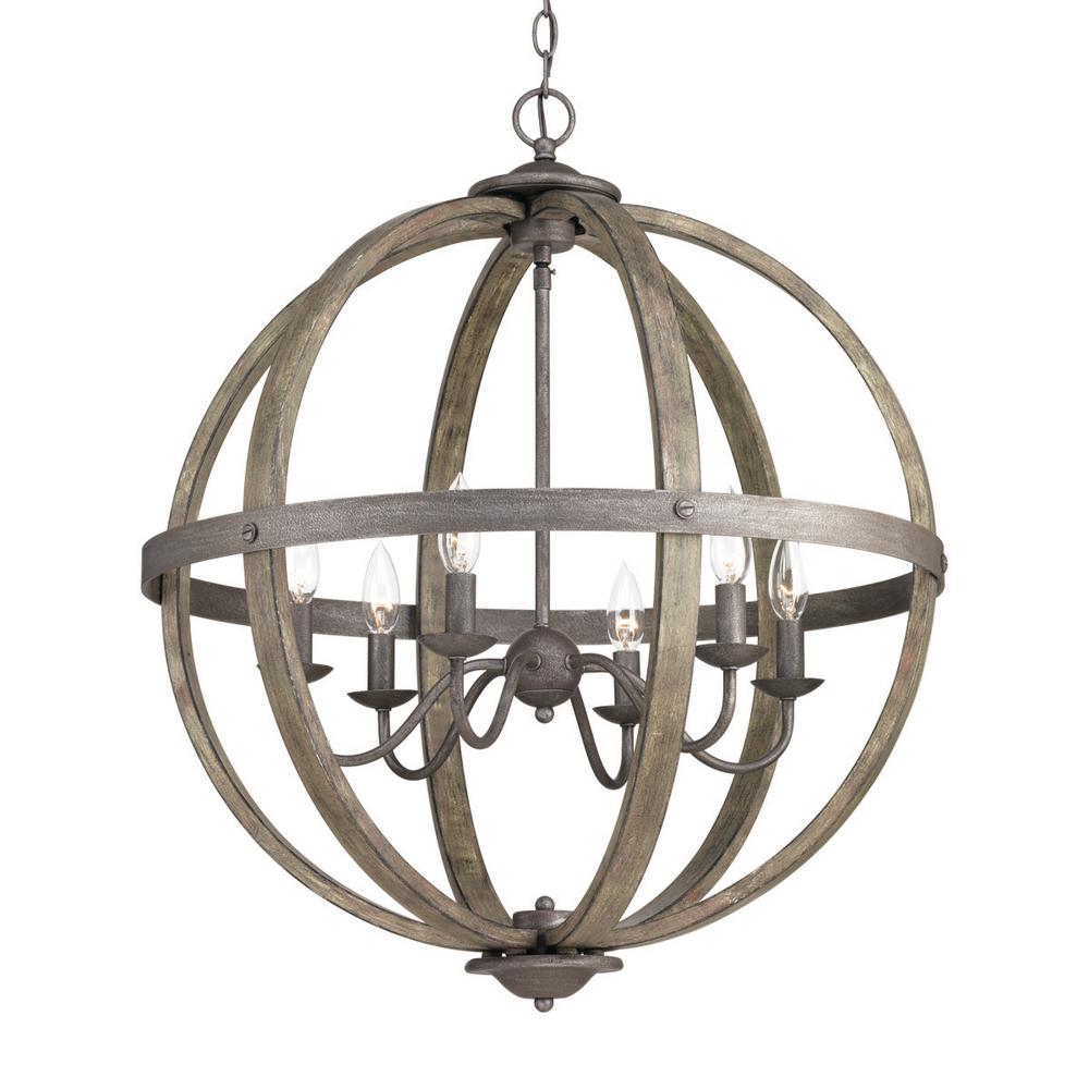 6-Light Artisan Iron Orb Chandelier with Elm Wood Accents