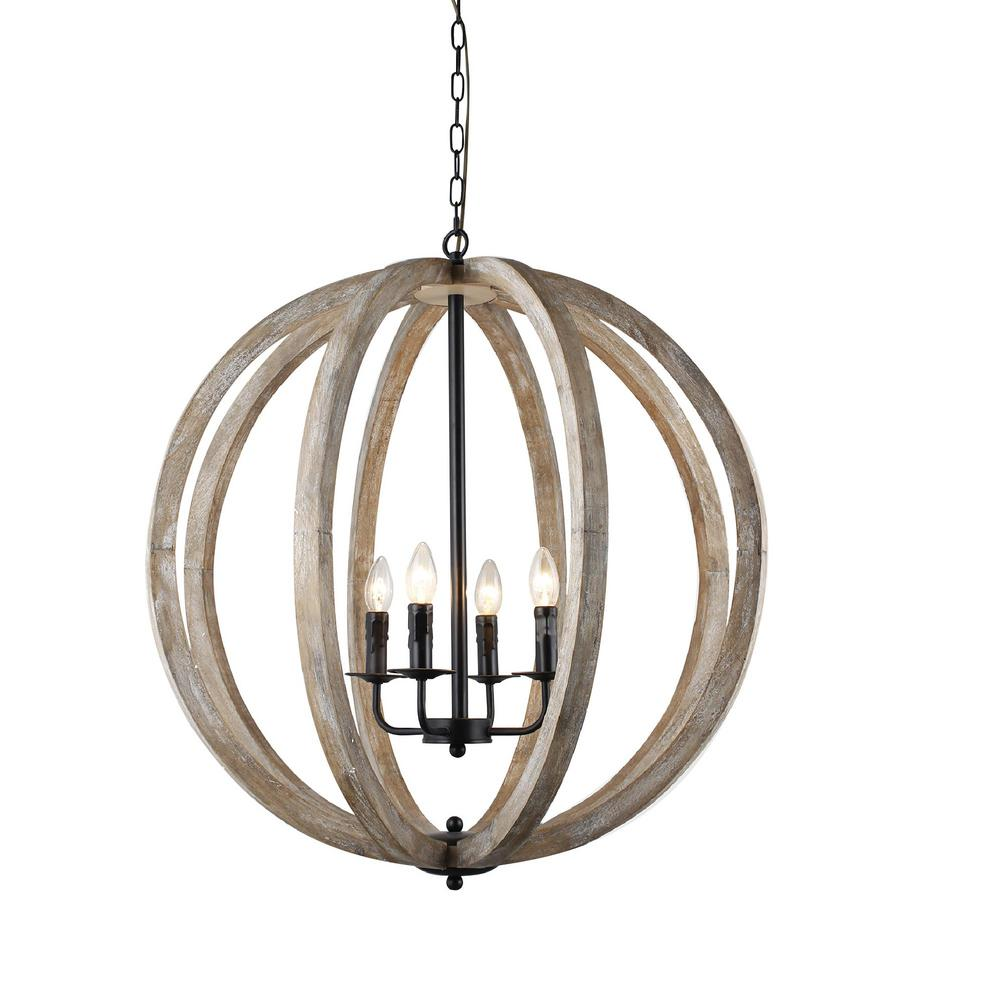 Y Decor Capoli 4-Light Wooden Orb Neutral Chandelier