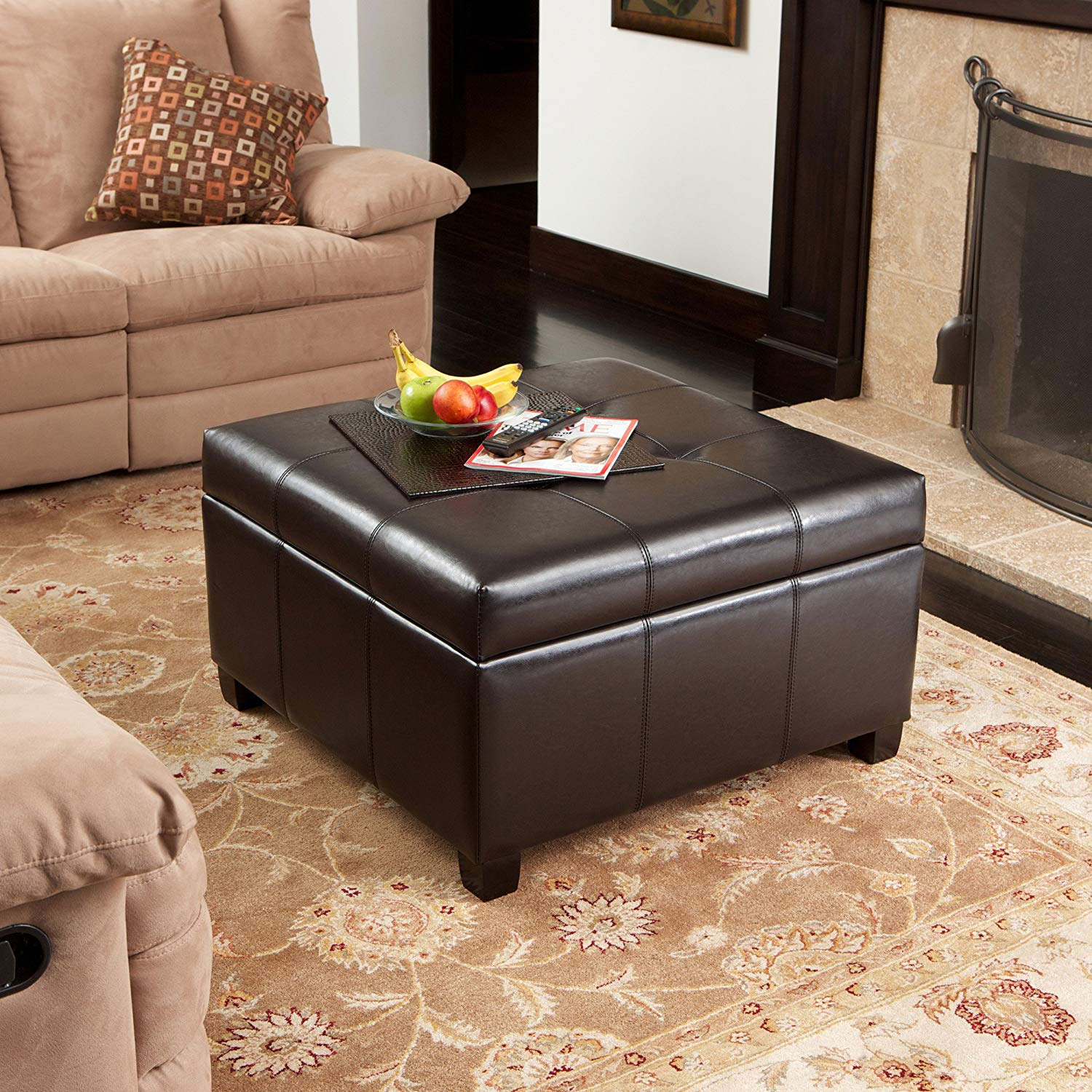 Traveller Location: Best Selling | Storage Ottoman | Coffee Table | Square Shaped |  Premium Bonded Leather in Espresso Brown: Kitchen & Dining