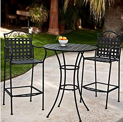 3 Piece Outdoor Bistro Set Bar Height -Black. This Traditional Patio  Furniture is Stylish and Comfortable. Bistro Sets Compliment Your Patio,