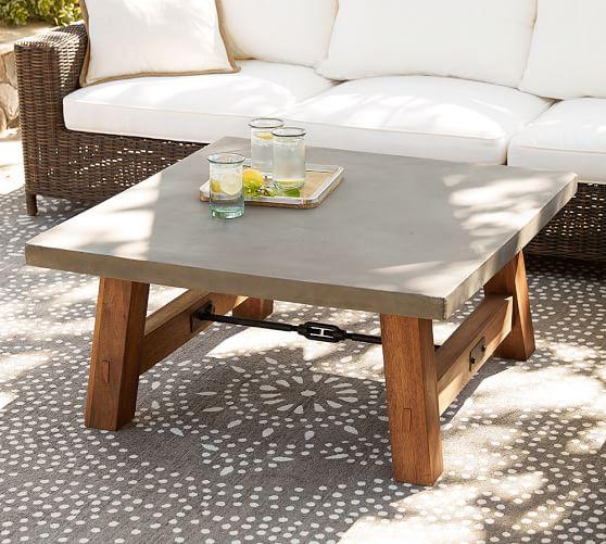 Abbott Concrete Square Coffee Table, Brown