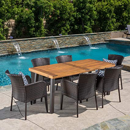 Traveller Location: Great Deal Furniture | Delgado 7-Piece Outdoor Dining Set |  Wood Table w/Wicker Chairs | in Multibrown: Garden & Outdoor