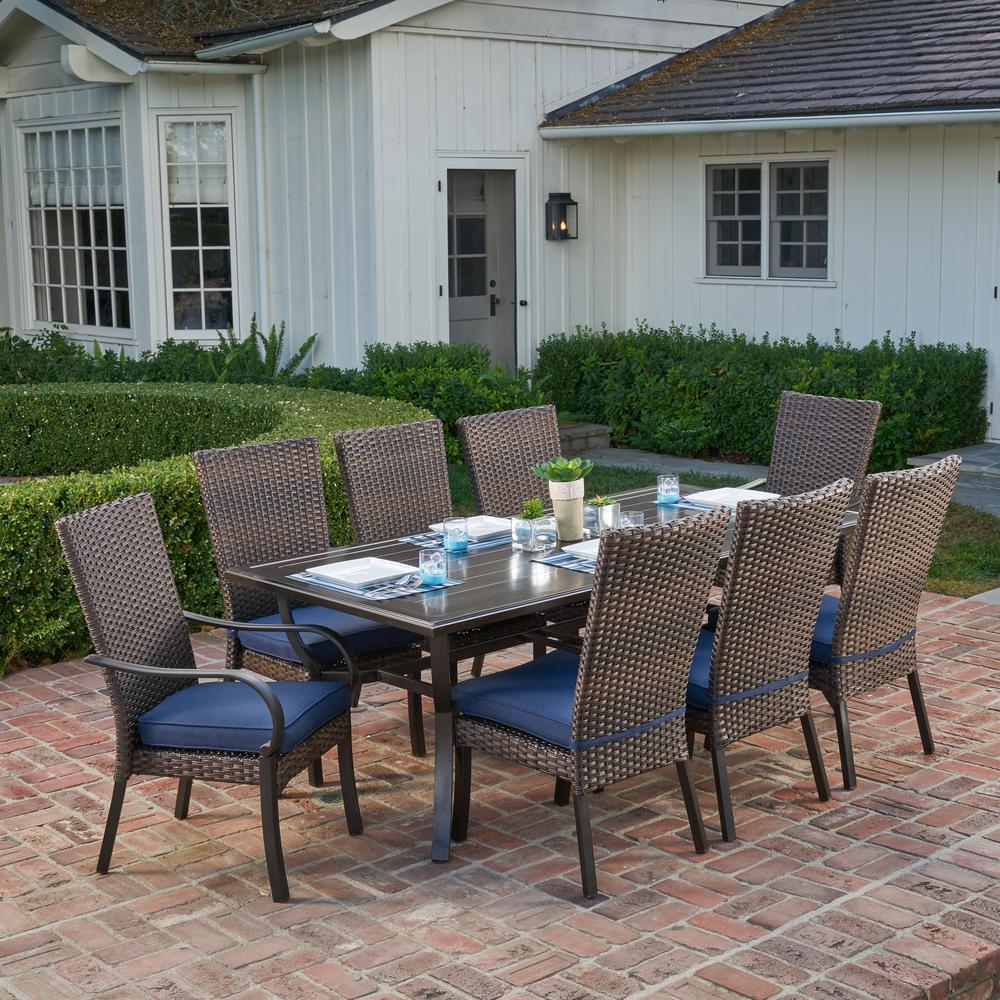 Royal Garden Anacortes 9-Piece Aluminum Outdoor Dining Set with Midnight  Cushions