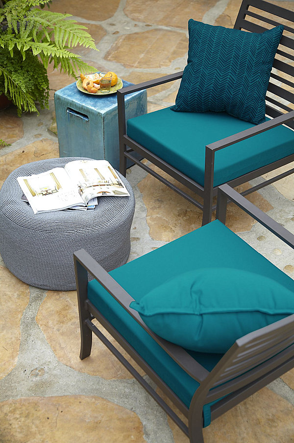 View in gallery Vibrant blue patio cushions