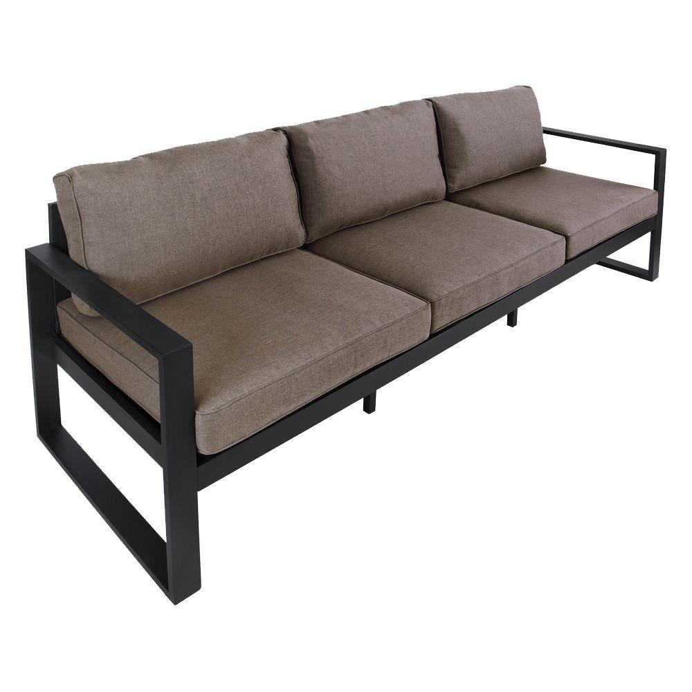 Black Aluminum All-Weather Casual Outdoor Patio Sofa with Gray Cushions