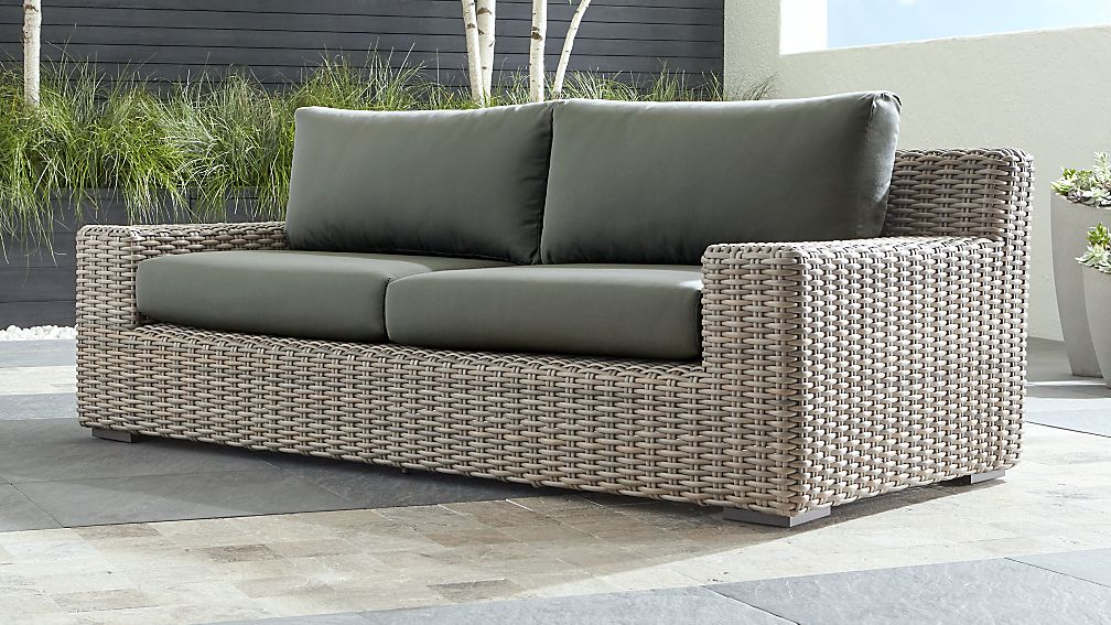 Cayman Outdoor Sofa with Graphite Sunbrella Cushions + Reviews | Crate and  Barrel