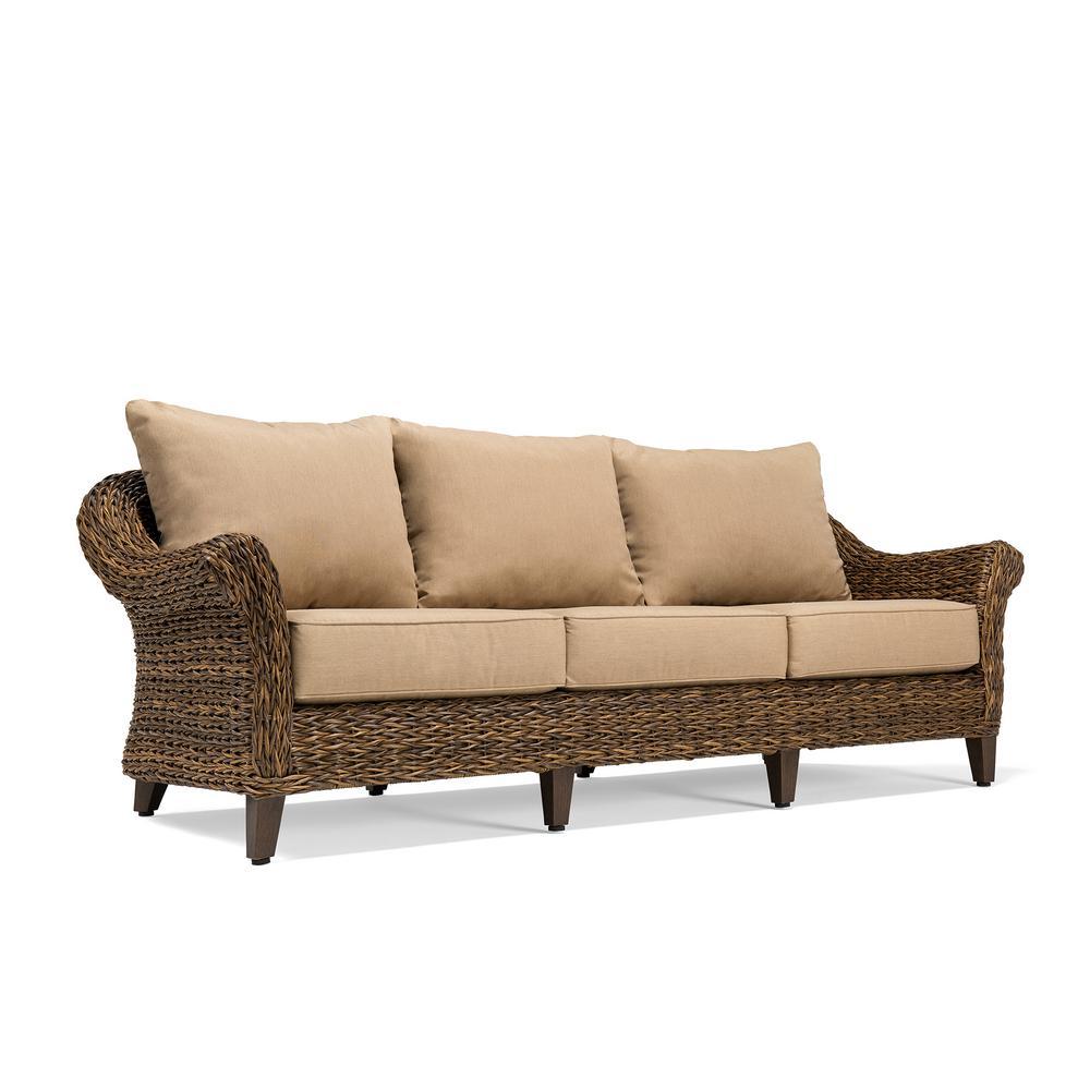 BLUE OAK Bahamas Wicker Outdoor Sofa with Sunbrella Canvas Heather Beige  Cushion