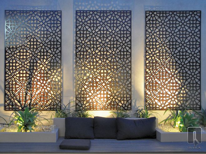 The Grail Outdoor Wall Art is a contemporary take on a classic Moroccan  design. This design can be given a rustic patina when made with Corten  Steel,