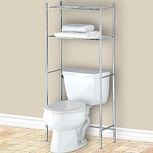 Image Unavailable. Image not available for. Colour: Chrome Over Toilet  Storage Unit