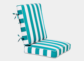 Striped. Floral Patio Lounge Chair Cushion
