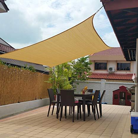 Amazon.com : 10' x 13' Sun Shade Sails Canopy Rectangle Sand, 185GSM