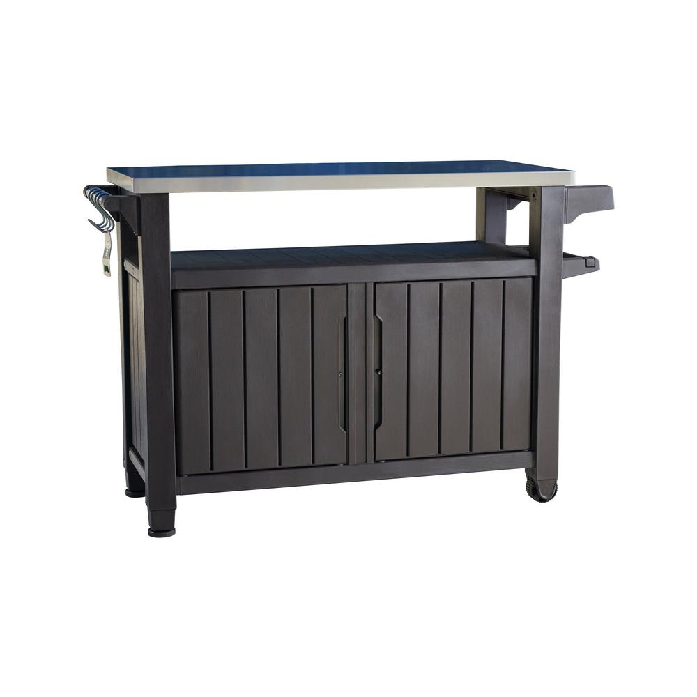 Grill Serving Prep Station Cart with Patio Storage