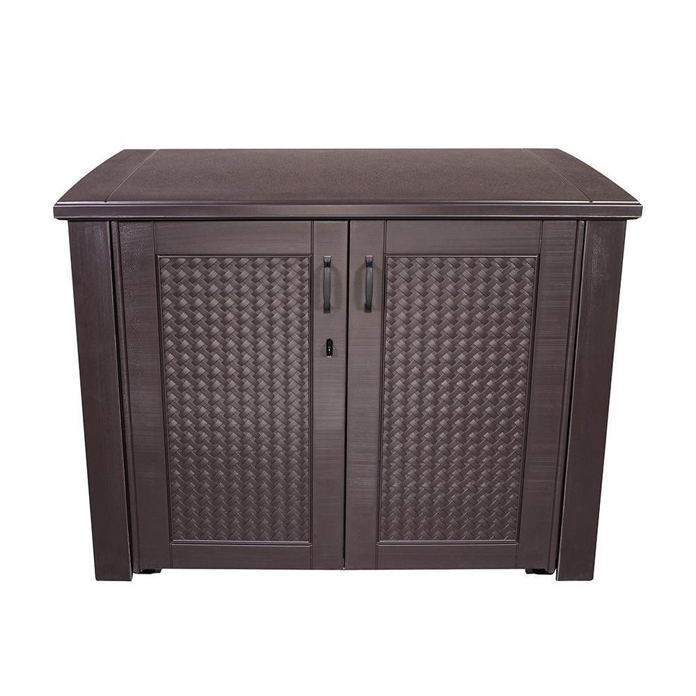 Rubbermaid Patio Chic 123 Gal. Resin Basket Weave Patio Cabinet in Brown