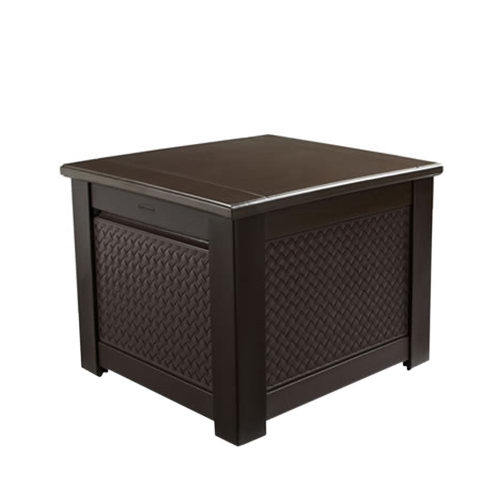 Rubbermaid Patio Chic 56 Gal. Resin Basket Weave Patio Storage Cube Deck  Box in Brown