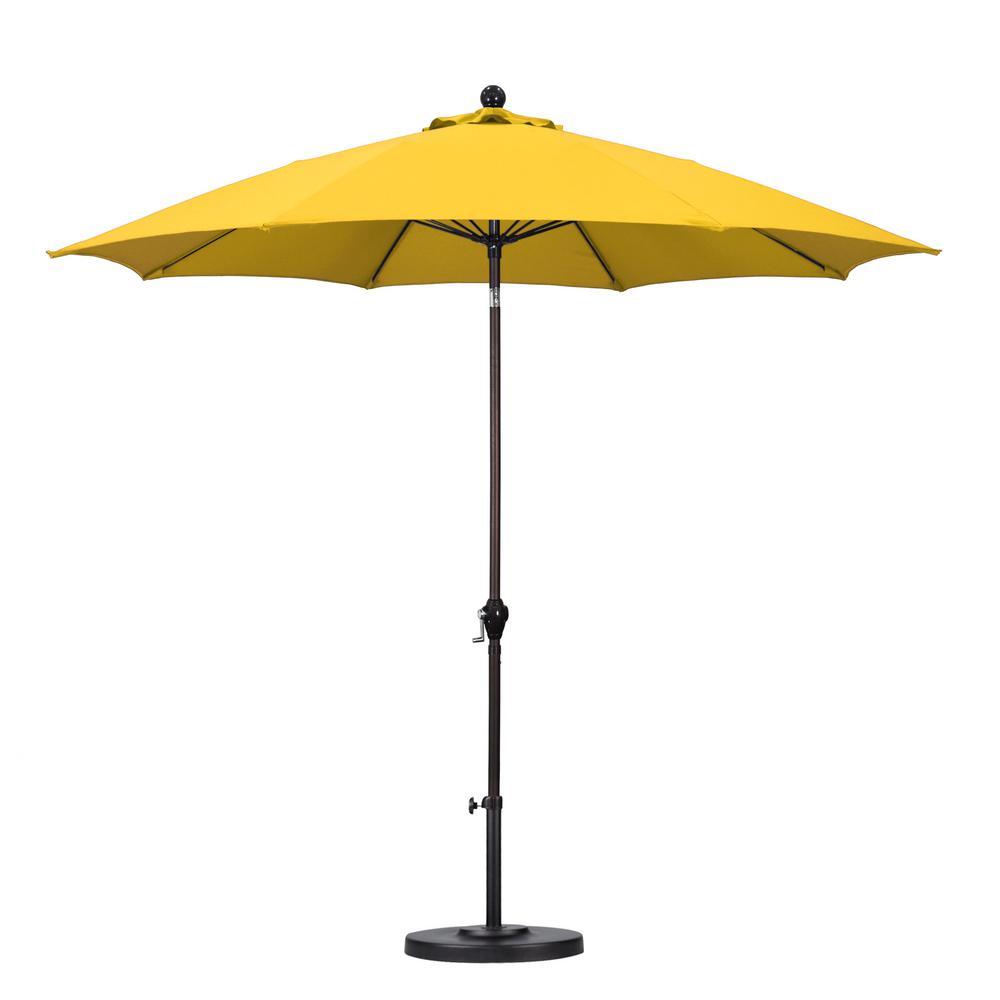 California Umbrella 9 ft. Fiberglass Push Tilt Patio Umbrella in Yellow  Polyester
