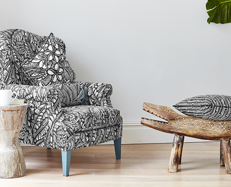 black and white patterned chair from happy and co