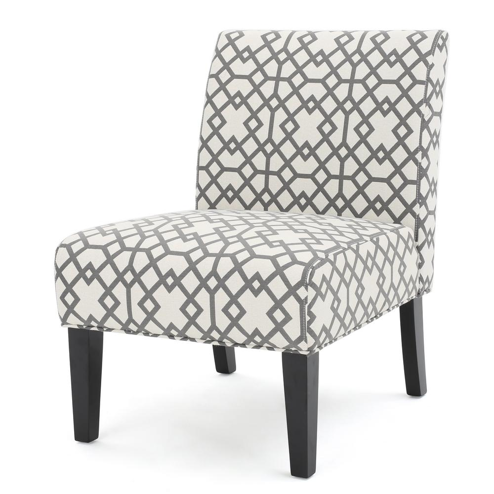 Noble House Kassi Grey Geometric Patterned Fabric Accent Chair