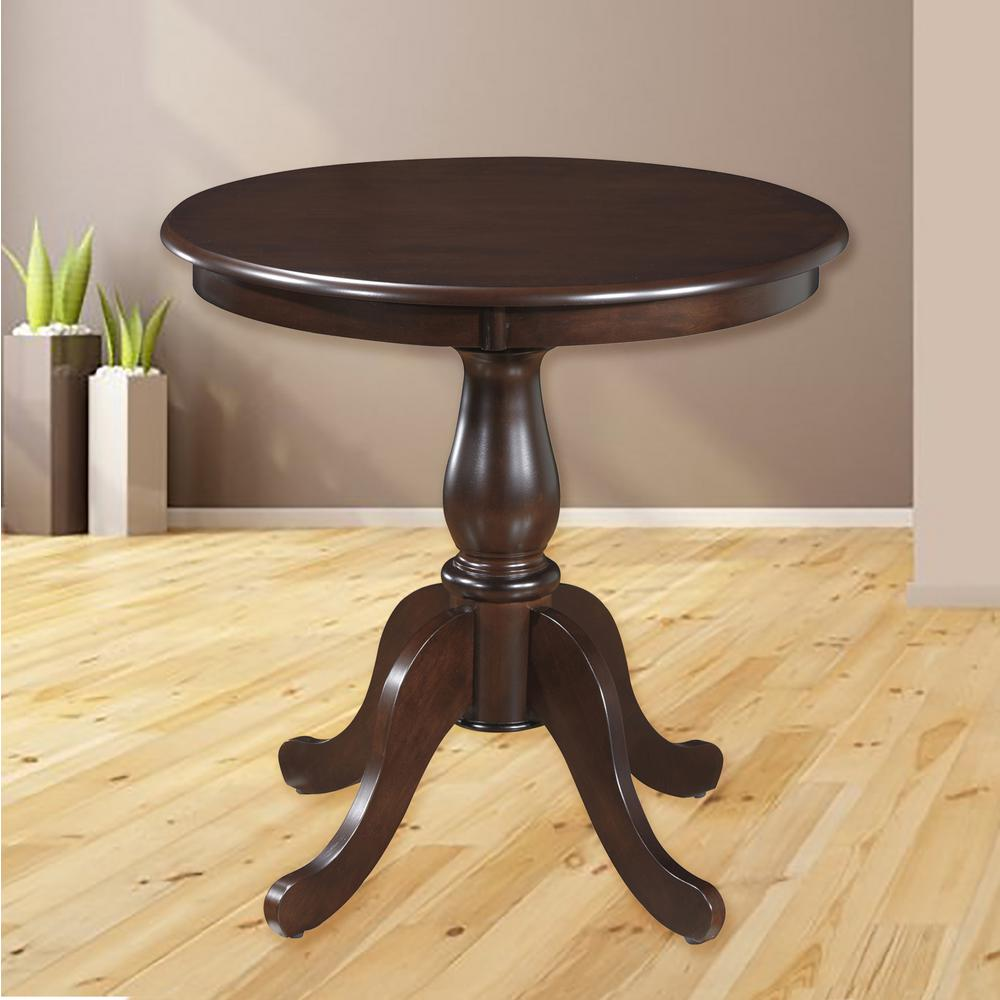 Round Pedestal Dining Table in Espresso-3030T-ESP - The Home Depot
