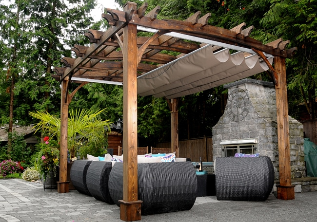 Pergola with roof - Arched Breeze with Retractable Canopy 10 x 12