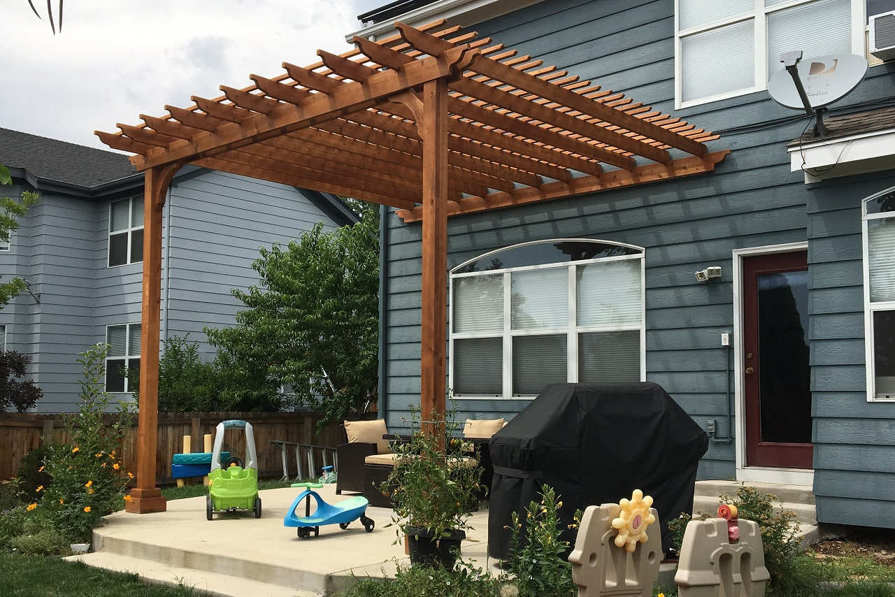 Cedar Pergola Kits | Wall Mounted - Attached to Home | 15x15, 16x20, 14x18