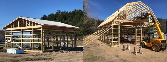 image of framed pole barn or post frame