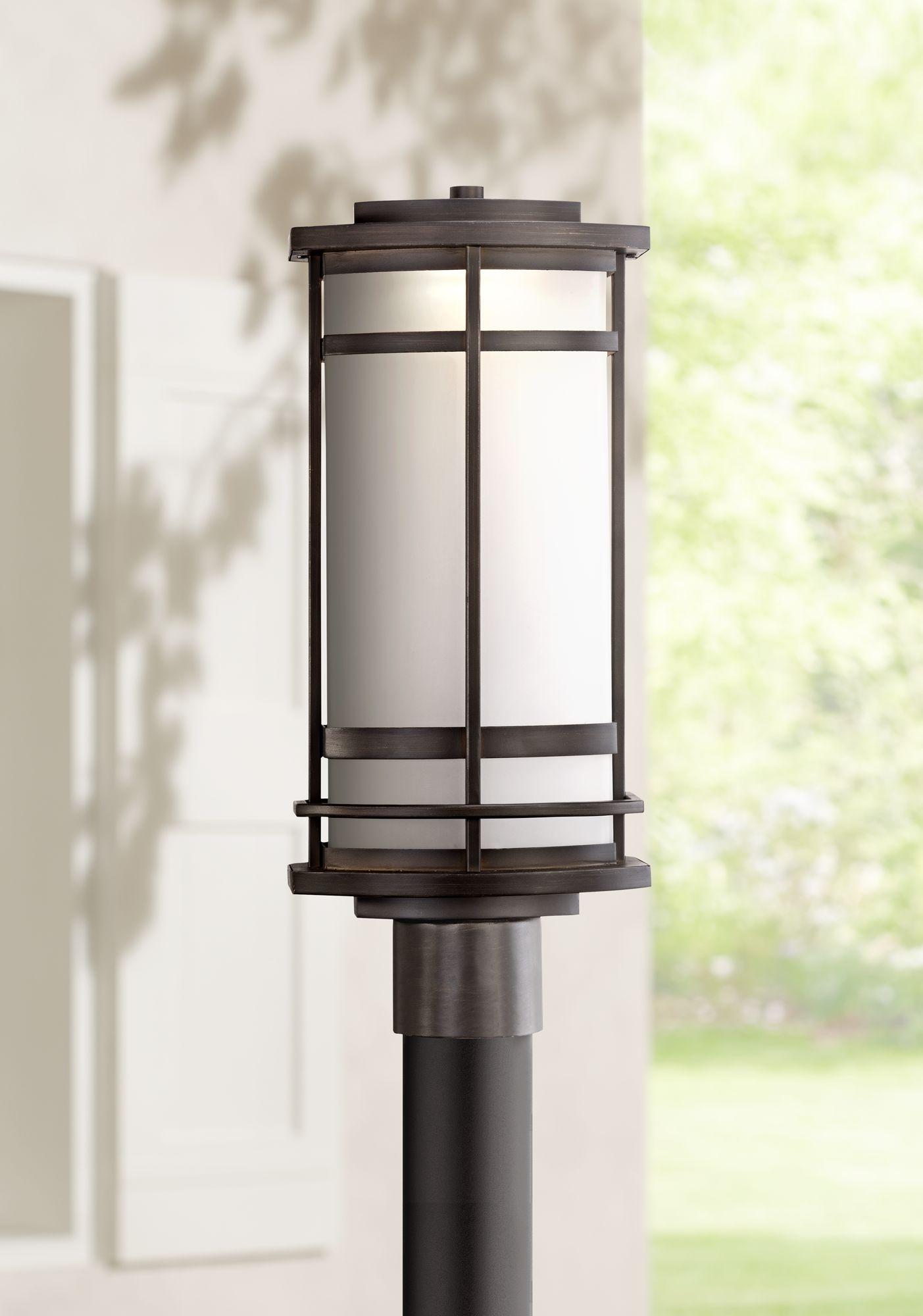 allen + roth Castine 19.5-in H Rubbed Bronze Post Light