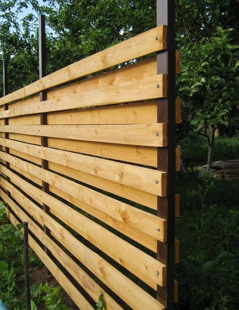 Horizontal Plank Fence with Metal Posts