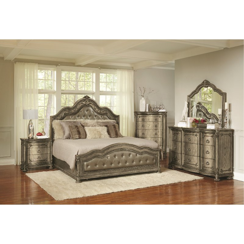 Traditional Platinum Gold 4 Piece Queen Bedroom Set - Seville | RC Willey  Furniture Store