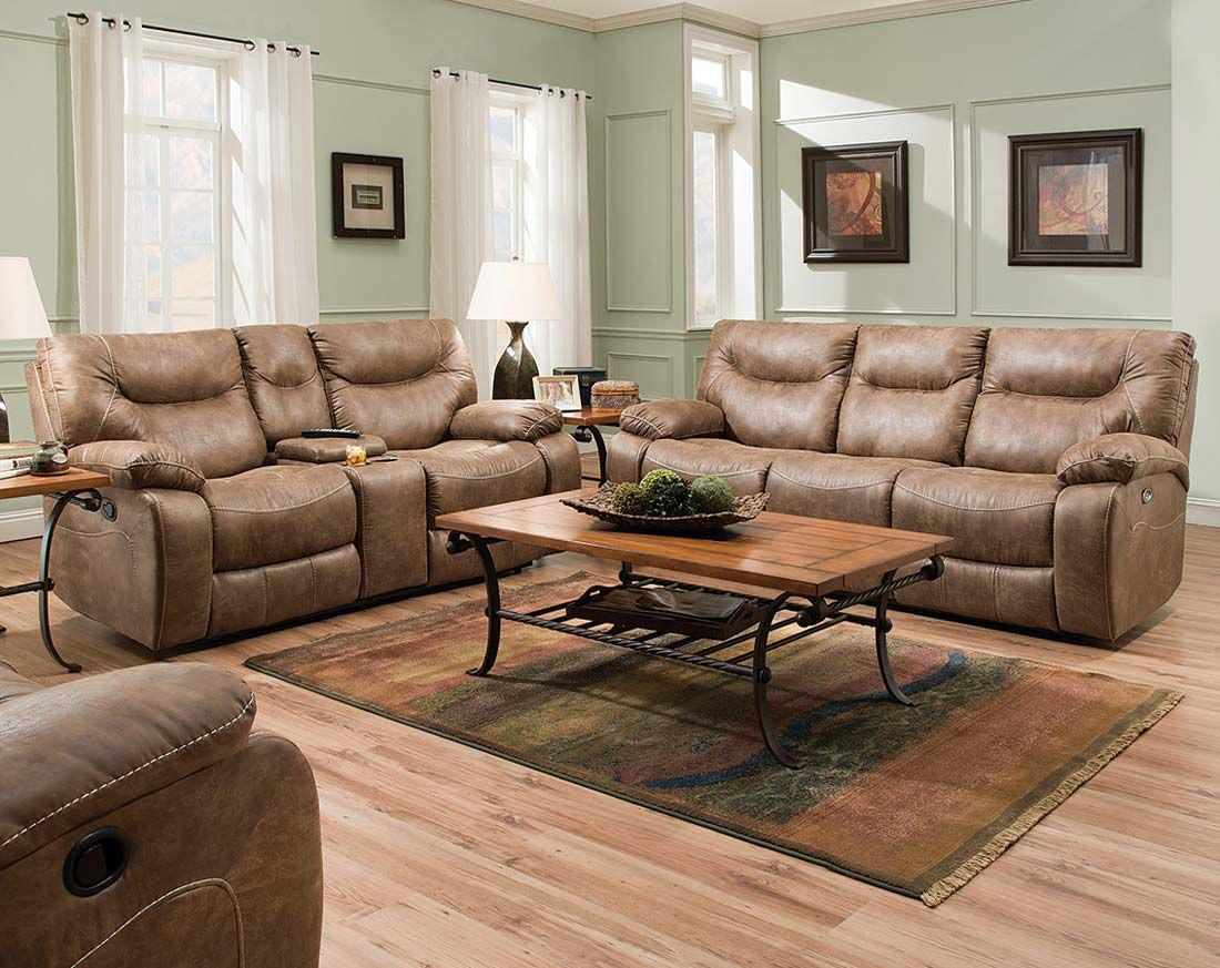 Tan Recliner Couch Set | Topgun Saddle Reclining Sofa and Loveseat