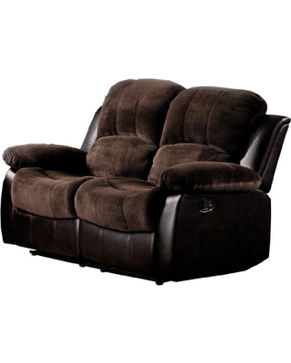 Homelegance 9700FCP-2 Double Reclining Loveseat Plush Microfiber, Dark Brown