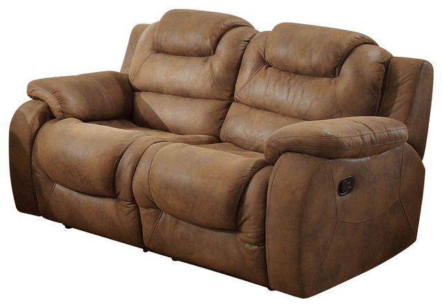 Homelegance Hoyt Double Reclining Loveseat in Bomber Jacket Microfiber