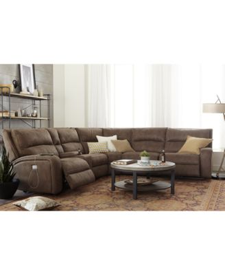 Furniture Brant 6-Pc. Fabric Sectional Sofa with 2 Power Recliners,  Power Headrests