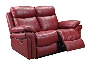 Oliver Pierce OP0041 Hudson Reclining Leather Loveseat Red
