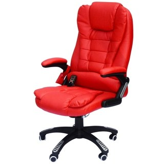 HomCom High-Back Executive Ergonomic PU Leather Heated Vibrating Massage Office  Chair - Red