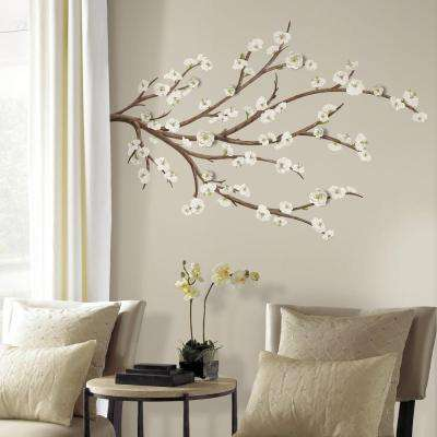 5 in. x 19 in. White Blossom Branch with Embellishments 31-Piece Peel