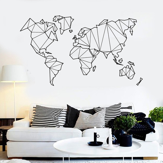 new geometric world map vinyl wall decals home decor living room bedroom art  wallpaper removable wall stikcers