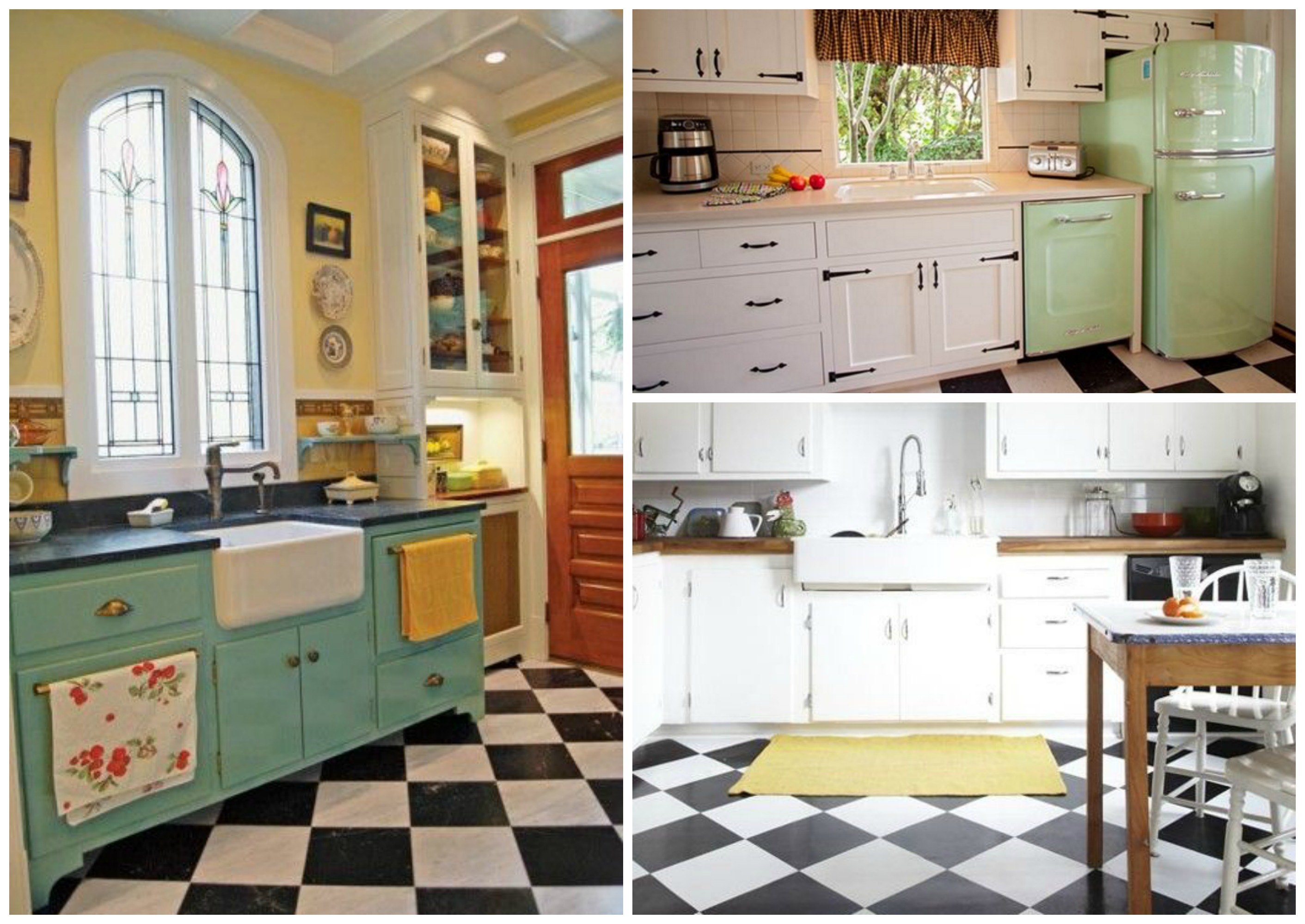 If creating a true retro kitchen, a checkered tile floor is an absolute  must. A classic and timeless option would be to stick with a black and  white color