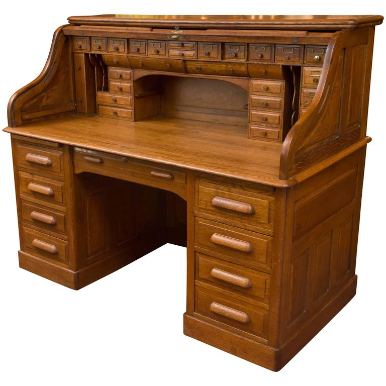 Exceptional Oversized S-Type Oak Roll Top Desk For Sale