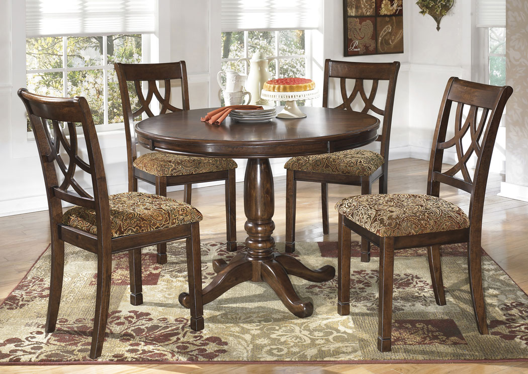 Leahlyn Round Dining Table w/ 4 Side Chairs,Signature Design By Ashley
