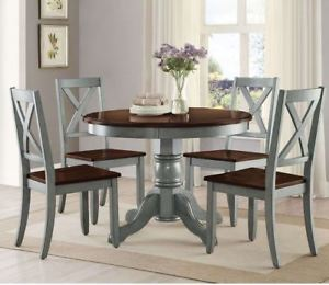 Image is loading Farmhouse-Dining-Table-Set-Rustic-Round-Dining-Room-