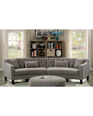 15% Off Aretha Contemporary Grey Tufted Rounded Sectional Sofa by Furniture  of America (Warm Grey)