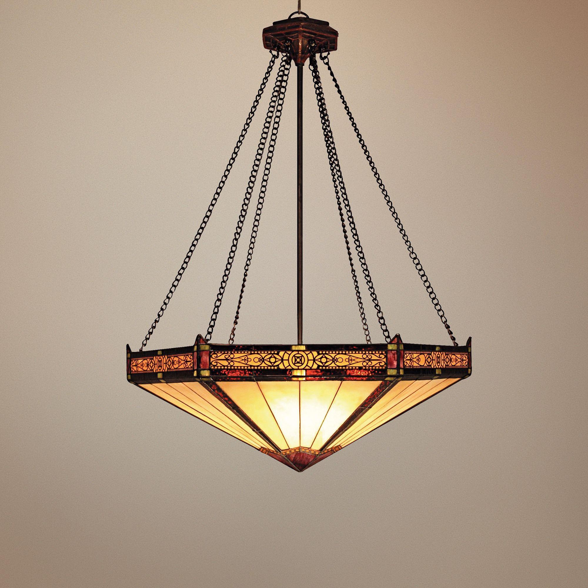 Aged Bronze Filigree Tiffany Style 3-Light Chandelier