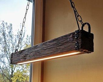 Wood Beam LED Pendant Light - Chandelier Wooden Chandelier Rustic Lighting  Farmhouse Pendant Hanging Lamp Indoor Lighting Ceiling