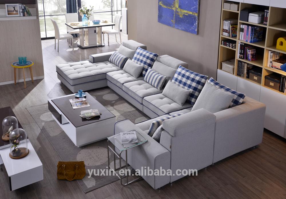 blue modern living room sofas/sectional corner sofa set from foshan  manufacturer