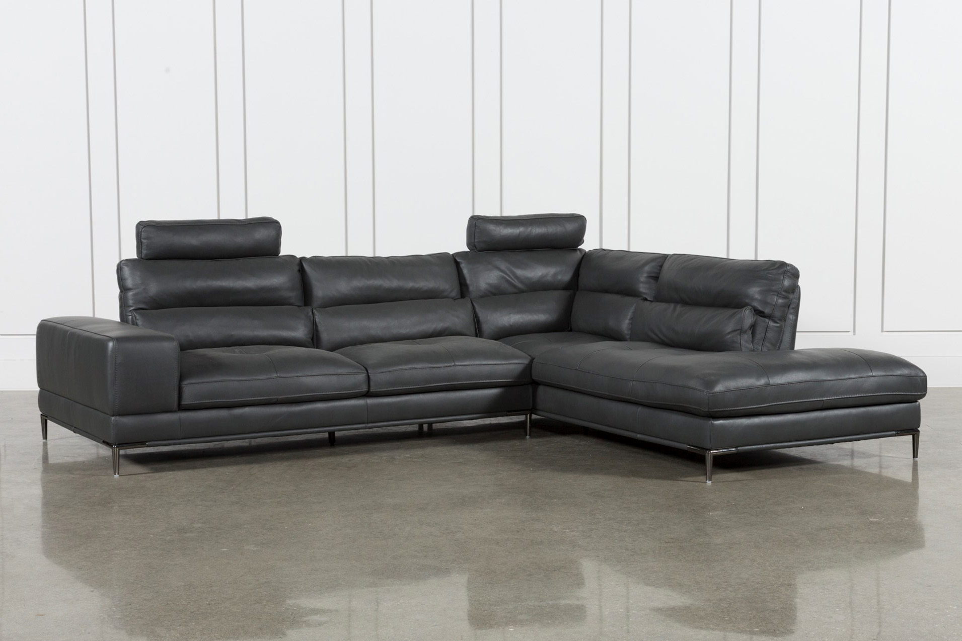 Tenny Dark Grey 2 Piece Raf Chaise Sectional W/2 Headrest