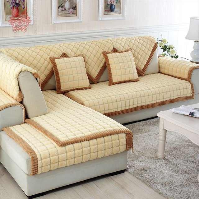 Coffee beige plaid quilting sofa cover sectional couch slipcovers furniture  covers sofa protector capa de sofa SP3924 FREE SHIP