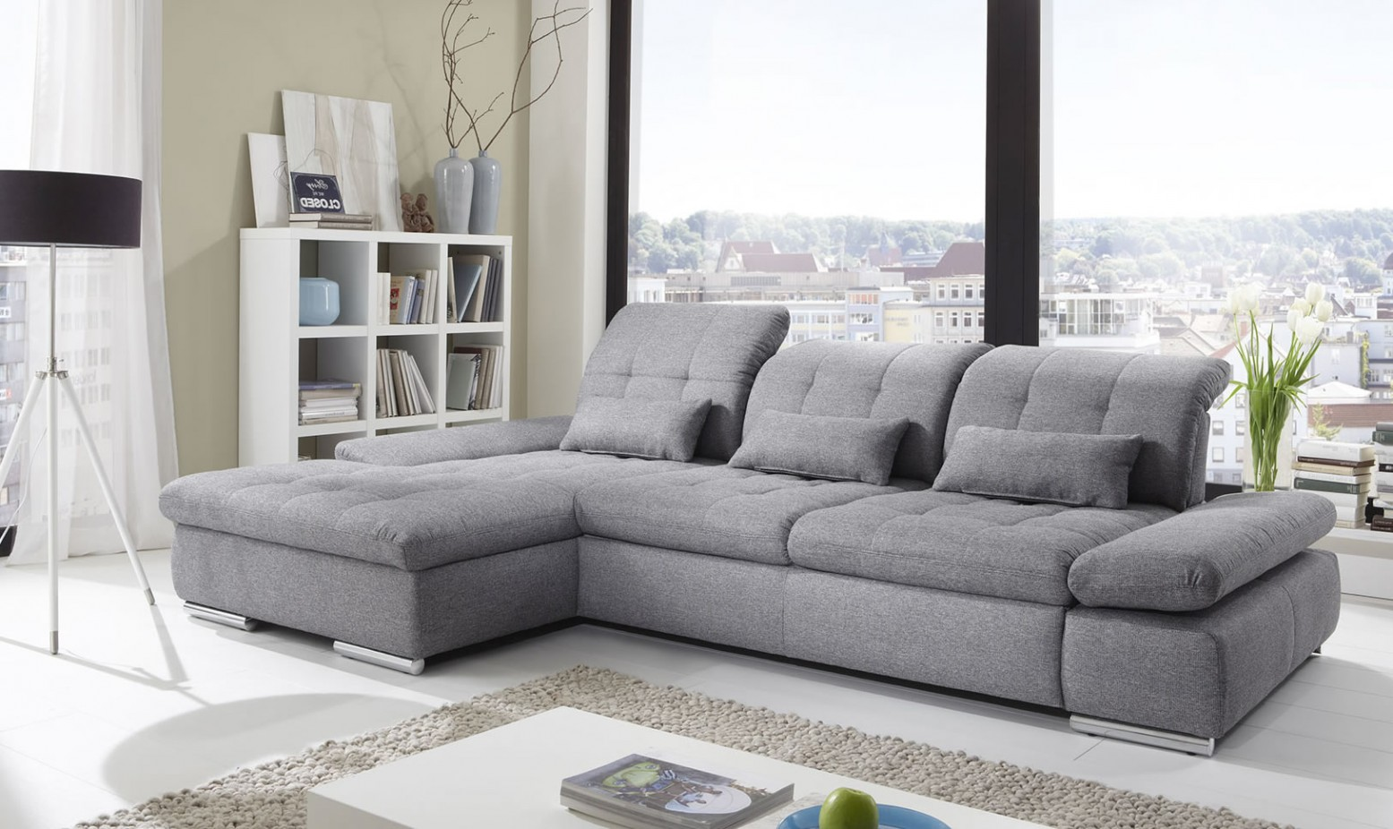 Alpine Sectional Sleeper Sofa, Left Arm Chaise Facing, Black & White Fabric  for
