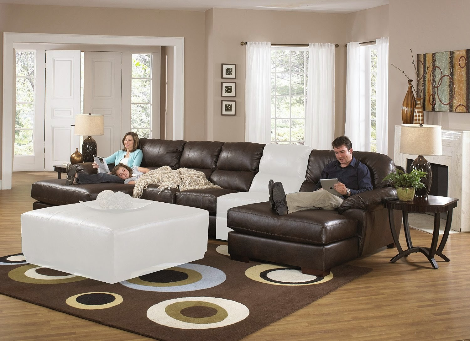 Sectional Reclining Sofas | Bonded Leather Sectional Sofa with Recliners | Recliner  Sectional Sofa