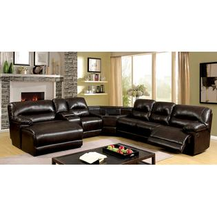 Furniture of America 6 pc glasgow ii brown breathable leatherette table  wedge sectional sofa with recliners