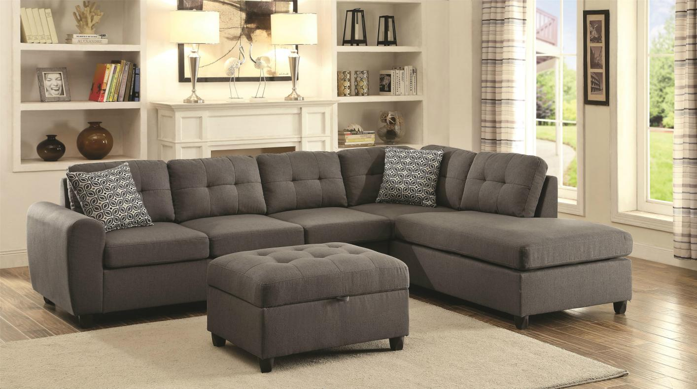 Stonenesse Grey Fabric Sectional Sofa - Steal-A-Sofa Furniture Outlet Los  Angeles CA